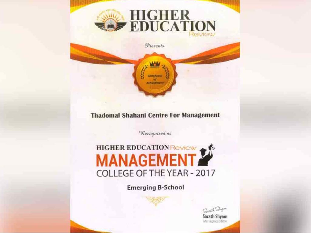 Management College of the Year – 2017 by Higher Education Review Magazine