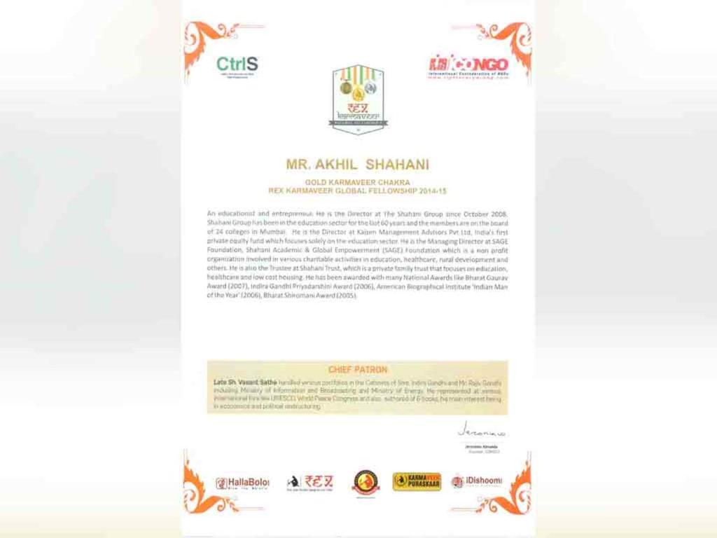 REX Karamveer Gold Chakra for Education