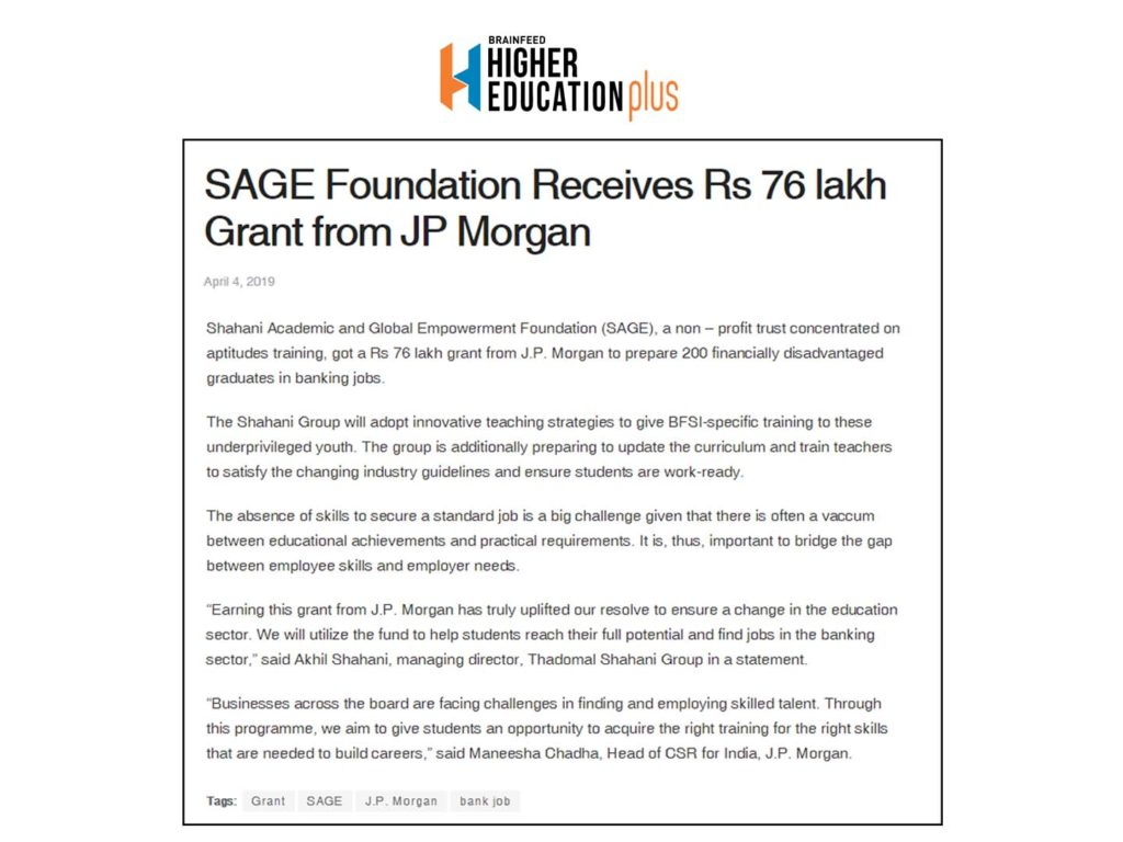 SAGE Foundation Receives Rs 76 lakh Grant from JP Morgan - Ask Careers