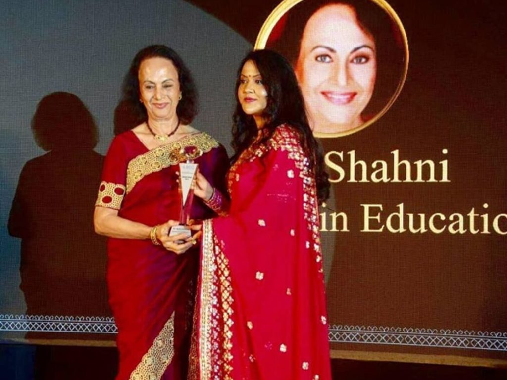 Our Chairperson Maya Shahani received an award for Excellence in Education