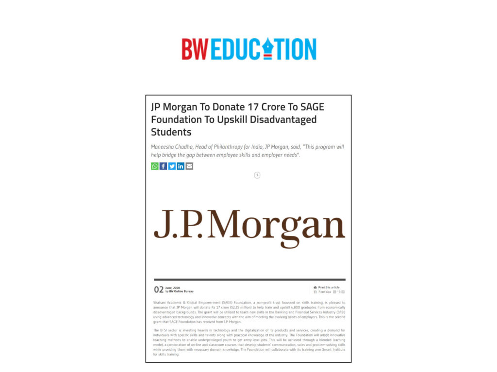 JP Morgan donates to build careers of thousands of underprivileged Indian youth