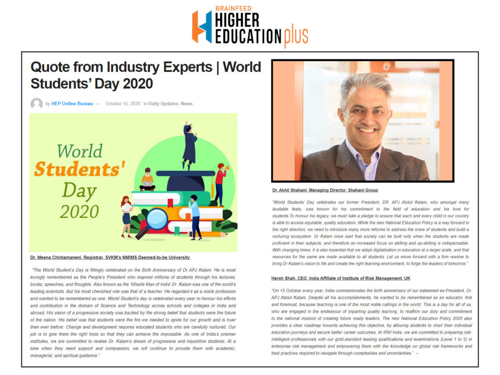 Quote from Industry Experts   World Students' Day 2020