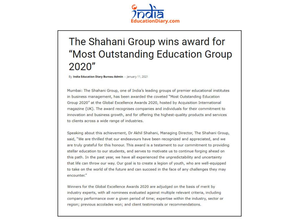 AI 2020 Global Excellence Awards Winner - Shahani Group