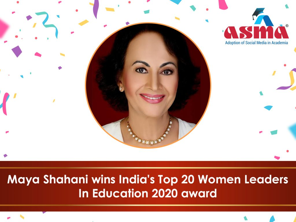 Our Chairperson wins an ASMA 'India's Top 20 Women Leaders In Education 2020' award